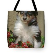 Pup In The Flowers Tote Bag
