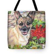 Pup In The Garden Tote Bag