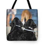 Puppies On The Beach Tote Bag by Camilla Brattemark