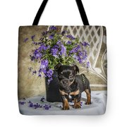 Puppy Dog With Flowers Tote Bag