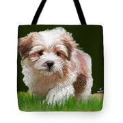 Puppy In High Grass Tote Bag