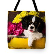 Puppy In Yellow Bucket  Tote Bag