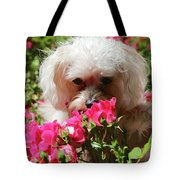 Puppy With Roses Tote Bag