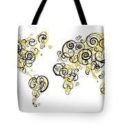 Purdue University Colors Swirl Map Of The World Atlas Tote Bag