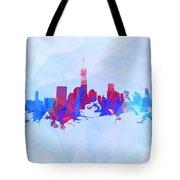Purple And Blue New York Skyline Tote Bag