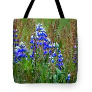 Purple And Grass Tote Bag