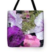 Purple And Pink Petunias Oil Painting Tote Bag