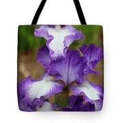 Purple And White Iris Layers Tote Bag
