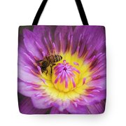 Purple And Yellow Lotus With A Bee Textured Tote Bag