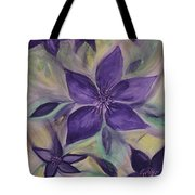 Purple Clematis Abstract Tote Bag