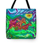 Purple Feathered Horses With Wider Surroundings Tote Bag