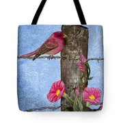 Purple Finch And Morning Glories Tote Bag