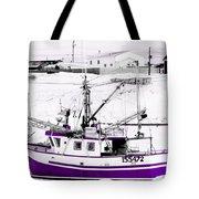 Purple Fishing Boat Tote Bag