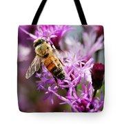 Purple Flower Bee Tote Bag