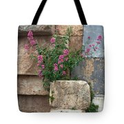 Purple Flowers In Ruins Tote Bag