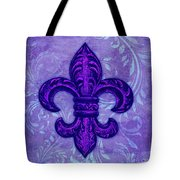 Purple French Fleur De Lys, Floral Swirls Tote Bag