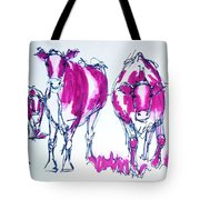 Purple Friesian Holstein Cows Drawing Tote Bag