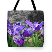 Purple Irises With Gray Rock Tote Bag