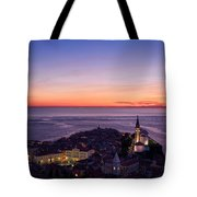 Purple Light On The Adriatic Sea After Sundown With Lights On Pi Tote Bag
