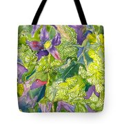 Purple Lillies And Baby's Breath Tote Bag