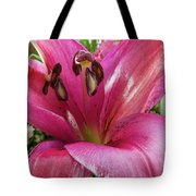 Purple Lilly In A Flower Bouquet Extreme Close-up Tote Bag