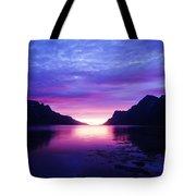 Purple Nordic Fjordland Sunset Tote Bag