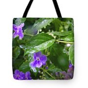 Purple On Green With Raindrops Tote Bag