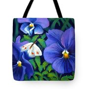 Purple Pansies And White Moth Tote Bag