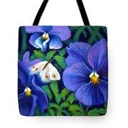 Purple Pansies And White Moth Tote Bag