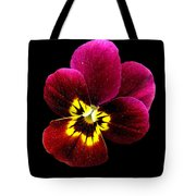 Purple Pansy On Black Tote Bag