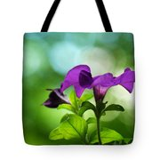 Purple Petunia On A Cool Spring Day Tote Bag
