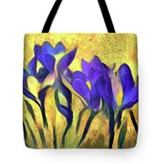 Purple Spring Crocus Flowers Tote Bag