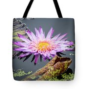 Purple Star Water Lily Tote Bag