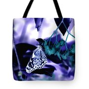 Purple Teal And A White Butterfly Tote Bag