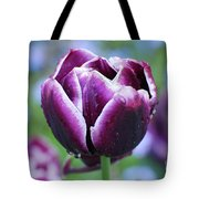 Purple Tulips With Dew Drops On The Outside Of The Petals Tote Bag