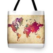 Purple World Map Watercolor Print  Tote Bag