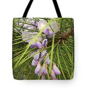 Pushing Though Or Wisteria And Long Needle Pine Tote Bag