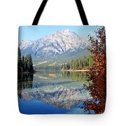 Pyramid Mountain Reflection 3 Tote Bag by Larry Ricker