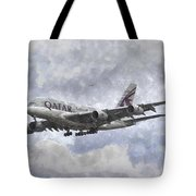 Qatar Airlines Airbus And Seagull Escort Art Tote Bag