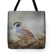 Quail On The Rocks Tote Bag
