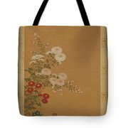 Quail Under Autumn Flowers Tote Bag