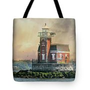 Quaint Stepping Stones Lighthouse Tote Bag