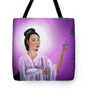 Quan Yin With Three Dragonflies Tote Bag