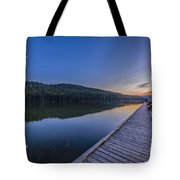 Quarter Moon Reflected In The Waters Tote Bag