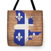 Quebec Rustic Map On Wood Tote Bag