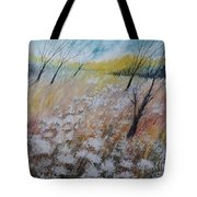 Queen Anne's Lace, Gouache Painting Tote Bag