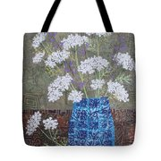 Queen Anne's Lace In Blue Vase Tote Bag