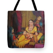 Queen Princess Sitting  Dressing From Her Maids Kaneej  Royal Art Oil Painting On Canvas Tote Bag