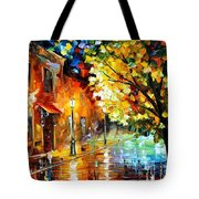 Quiet Corner-garden On The Stones - Palette Knife Oil Painting On Canvas By Leonid Afremov Tote Bag