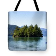 Quiet Day At The Lake - Digital Oil Tote Bag